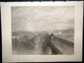 After Turner 1860 Antique Print, Rain Steam and Speed. Train Railway Art Journal